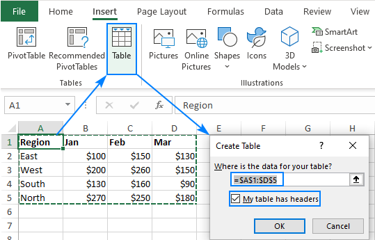 excel table creation